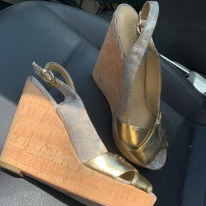 So cute Coach gold and cork wedges!!